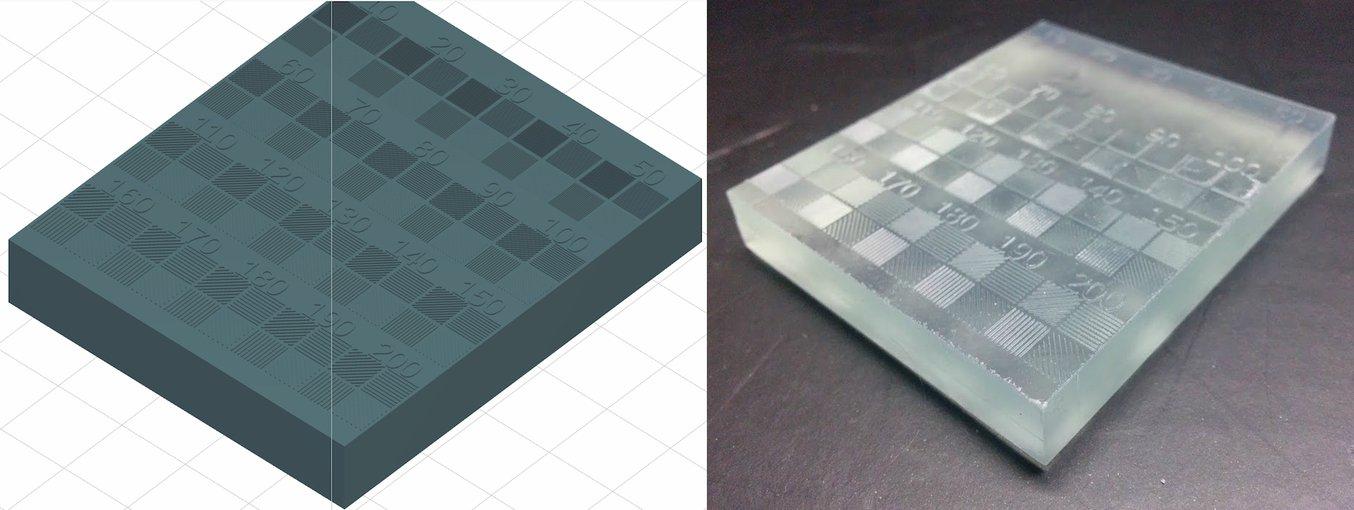 Um die minimale Strukturgröße des Form 2 auf der XY-Ebene zu testen, entwarfen wir ein Modell (links) mit Linien von 10 bis 200 µm Breite und druckten es im Transparenten Kunstharz (rechts)