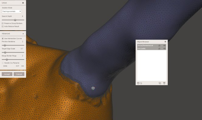 Meshmixer tutorial - A successful Meshmix with added detail at the intersection for resculpting.
