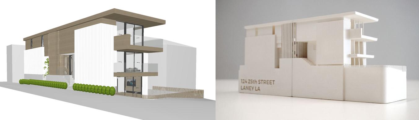 Modello digitale di una pianta accanto al corrispettivo modello in scala creato con la stampa 3D.