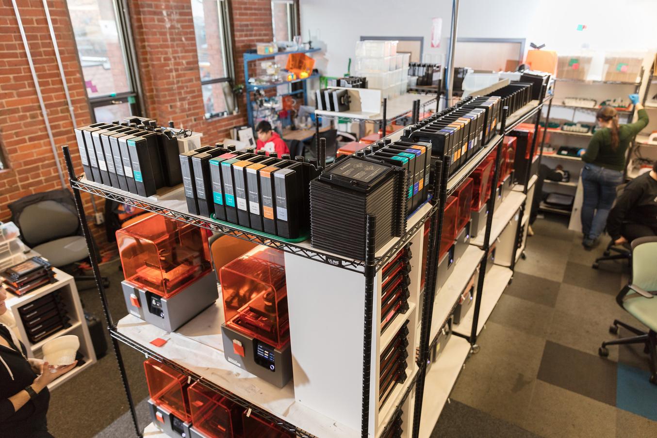 The print production facility at Formlabs HQ.