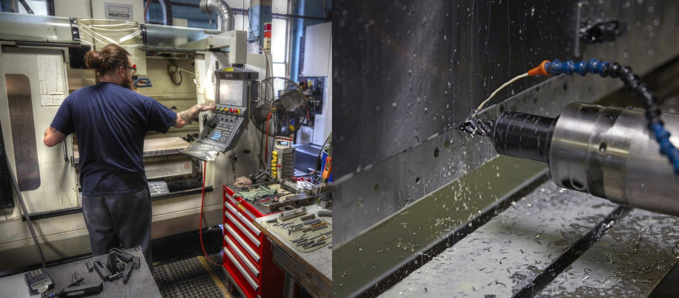 Machining tools in operation at the A&M Tool and Design machine shop.