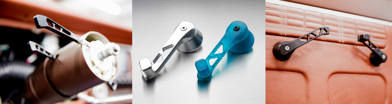 Ringbrothers custom car parts, including door handles, next to 3D printed prototypes.
