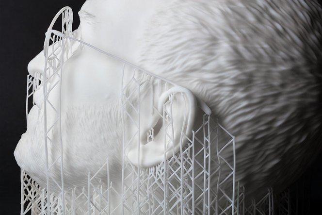 Sculpture de Steve Jobs crée par Sebastian Errazuriz, imprimée en 3D en White Resin.