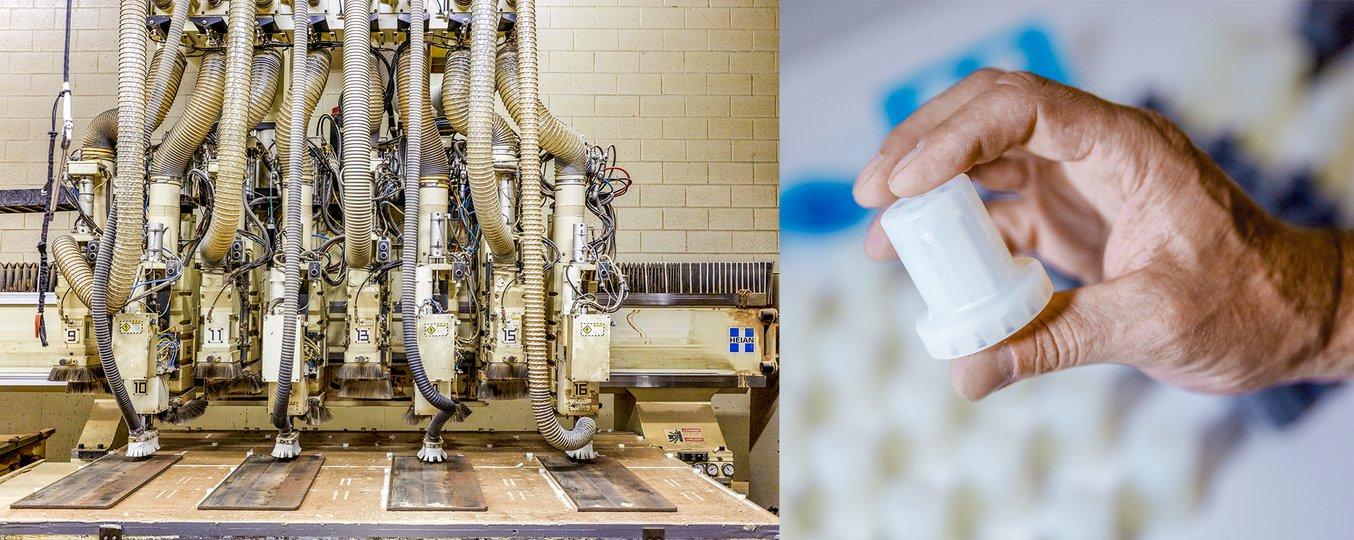 Hunderte von Führungsstiften aus Durable Resin werden auf den CNC-Oberfräsentischen im Werk von Ashley Furniture in Arcadia eingesetzt.