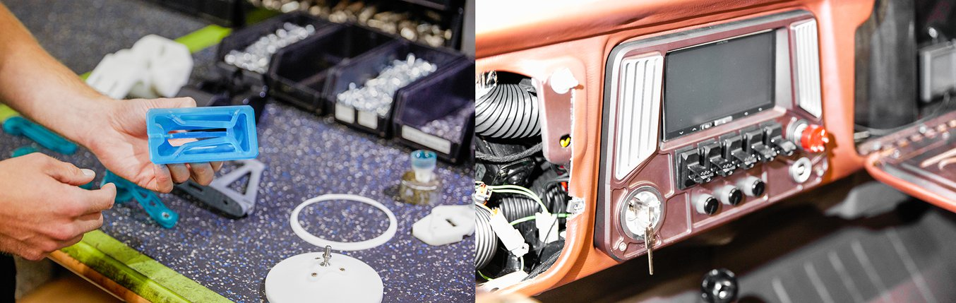 A 3D printed air vent part next to an air vent in a Ringbrothers custom car.