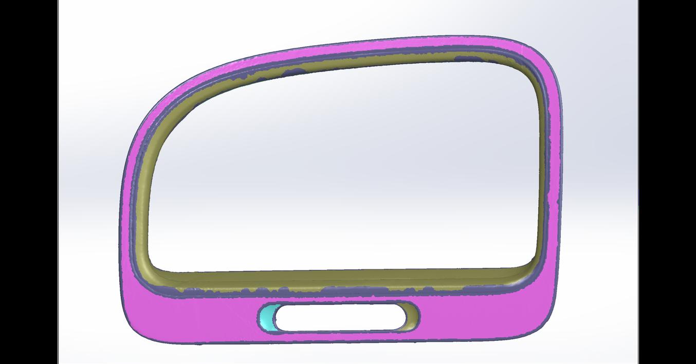 Conseil : Geomagic pour Solidworks détecte des surfaces sur le scan pour l'ajustement de courbes 3D. L'outil « Brosse » permet d'ajouter ou retirer des parties de surfaces de chaque région sur le scan.
