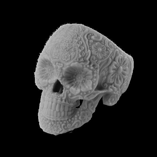 3d printed decorative skull printed in grey resin