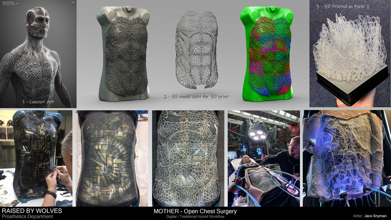 Jaco Snyman's workflow, going through concept art, 3D mold split, printing and assembling.