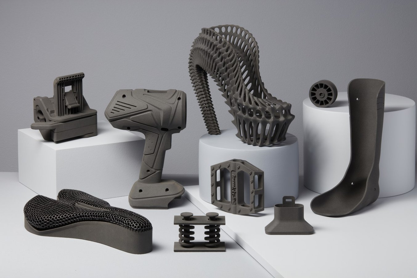 Parts printed on the Fuse 1 SLS 3D printer.