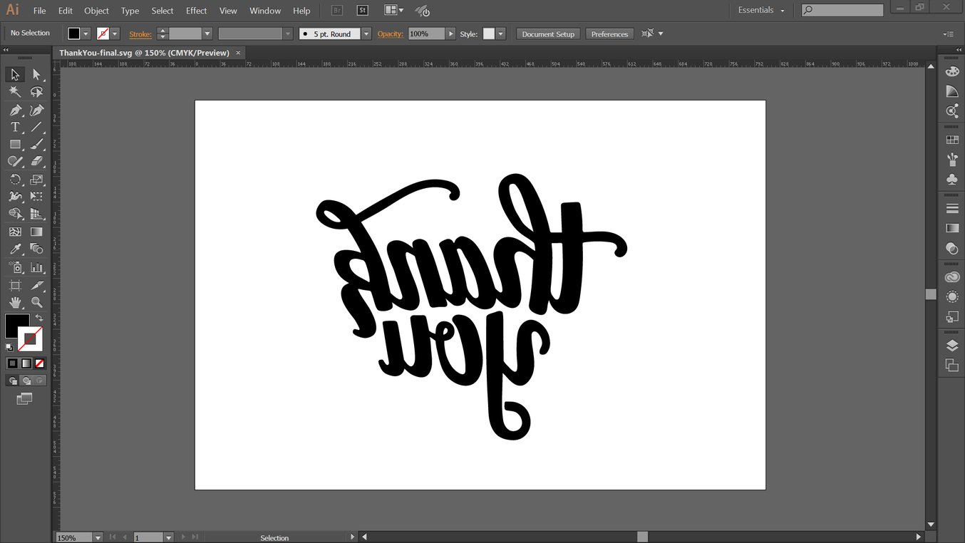 Design the stamp as a vector graphic, making sure to mirror the final stamped image.