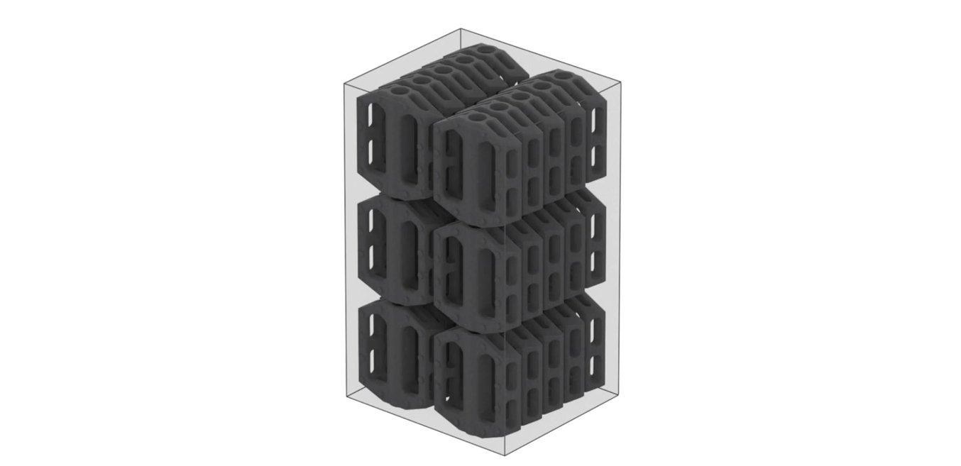 Selective Laser Sintering (SLS) - La impresión SLS permite que los operarios coloquen la mayor cantidad de piezas posible en la cámara de impresión y que las impriman sin soportes para ahorrar tiempo de posacabado.