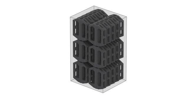 La sinterizzazione laser selettiva consente agli operatori di riempire l'area di stampa con il maggior numero di parti possibile e di stamparle senza supporti, così da risparmiare tempo durante la post-elaborazione.