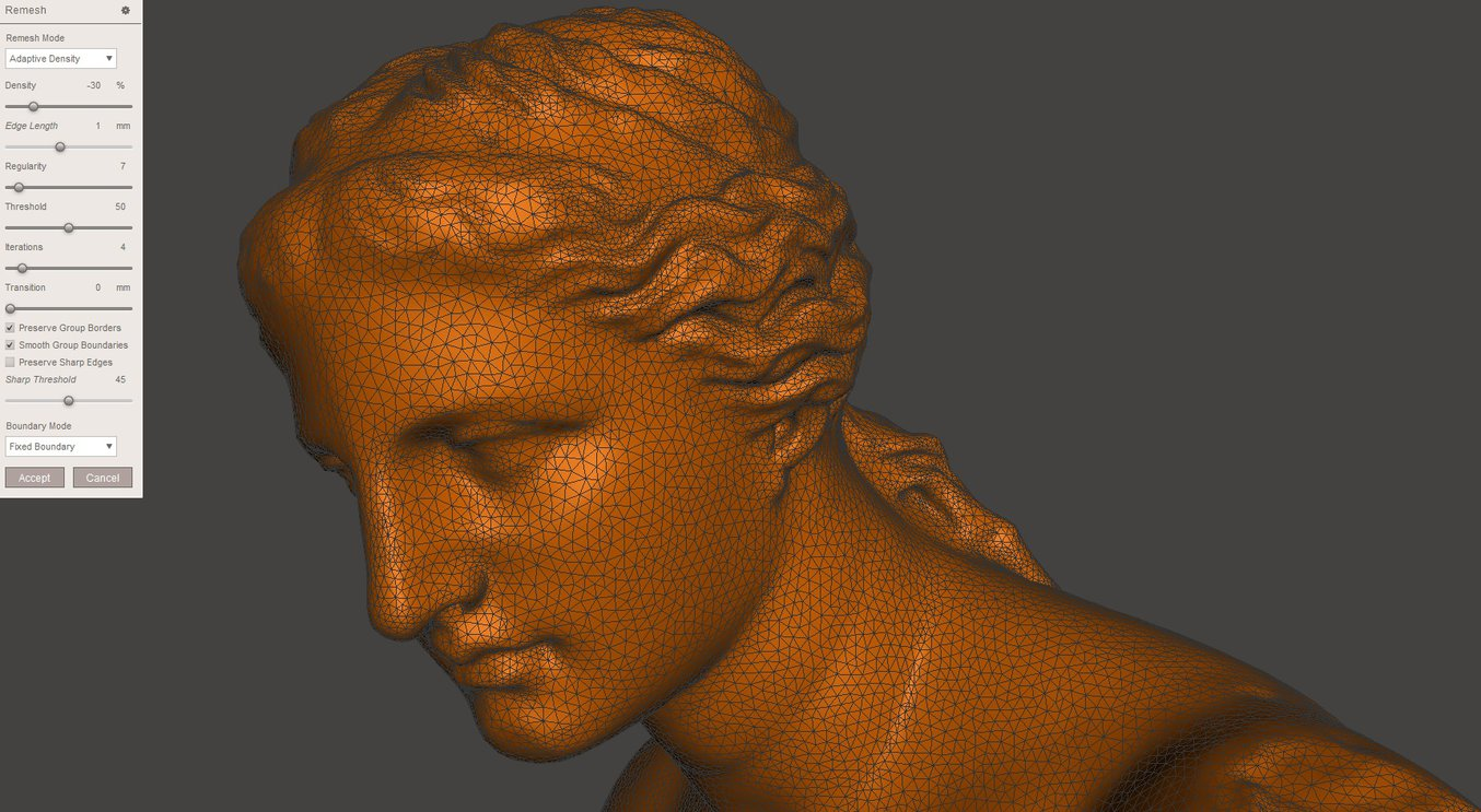Meshmixer tutorial - Venus model - Optimizing the mesh reduced the file size by 60%.
