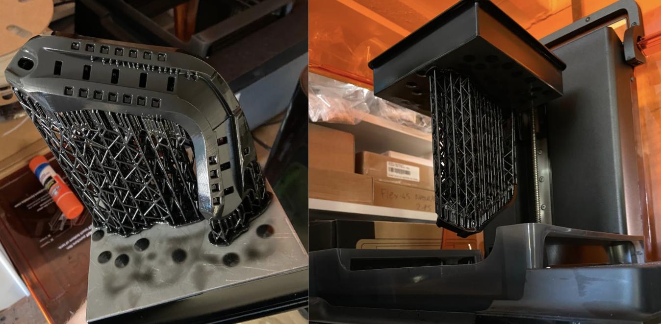 Uno de los proyectos actuales de Mark en colaboración con un fabricante local de cascos de alto rendimiento, que consiste en aplicar ingeniería inversa y desarrollar componentes utilizando datos escaneados en 3D.