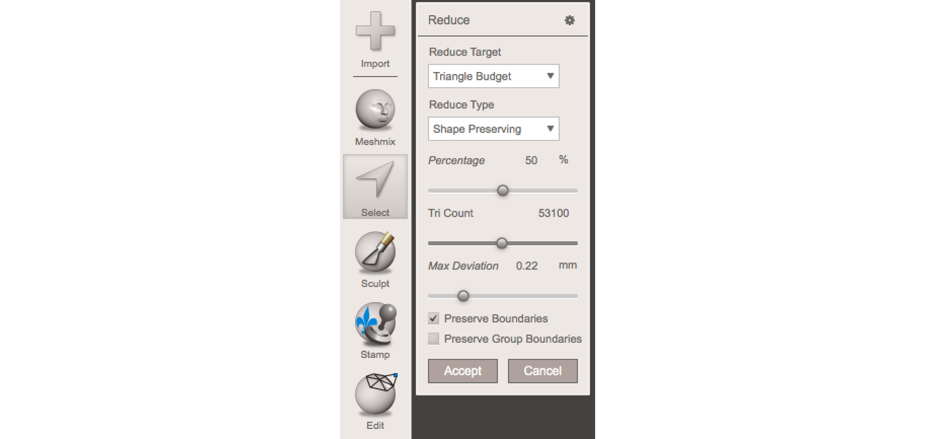 Meshmixer menu - Reverse Engineering