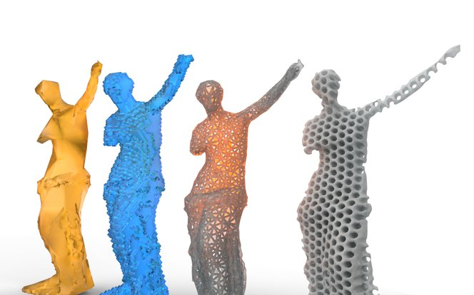 Meshmixer tutorial - Low-poly, voxelized, wireframe, and perforated pattern variations.