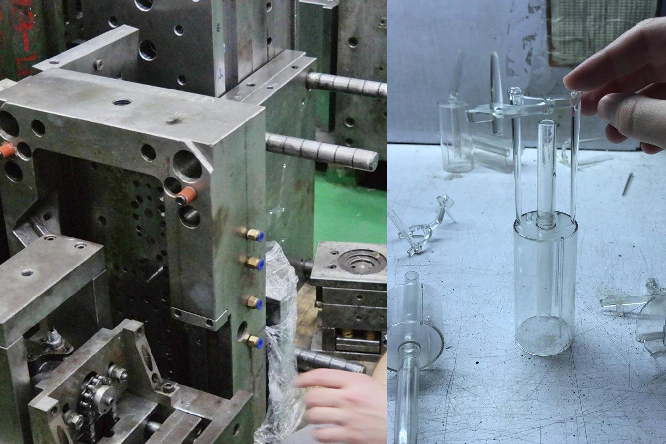 Las piezas finales están fabricadas mediante moldeo por inyección con material Tritan (copoliéster).
