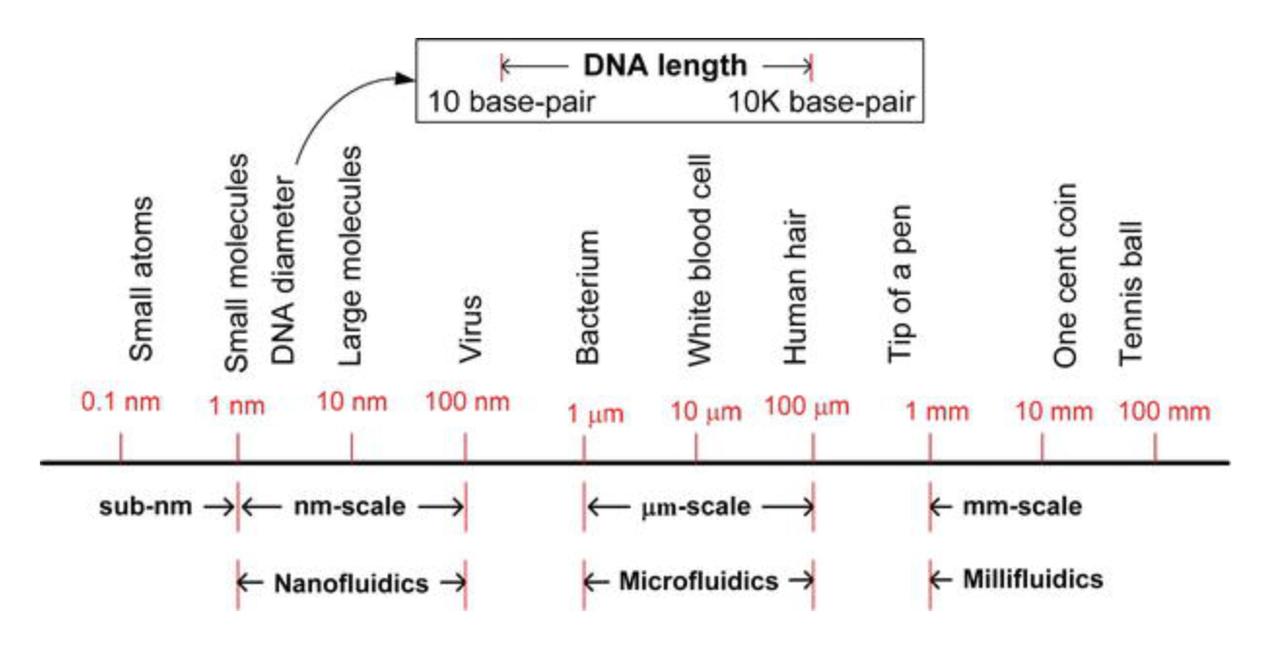 Annährungsbeispiel der Skalierung und Übergänge zwischen Nano, Mikro und Milli.