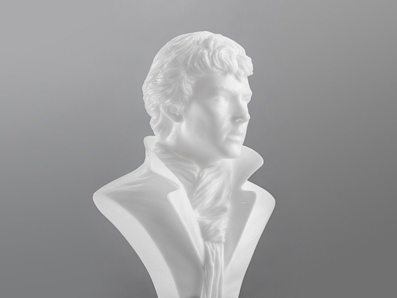 The finished hollow model, printed withFormlabs Standard White Resin