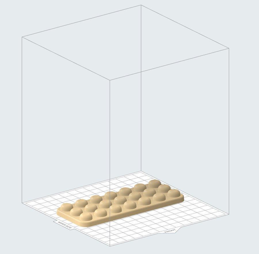 En algunos casos, los moldes macho se pueden imprimir directamente en la base de impresión para reducir el tiempo de impresión.