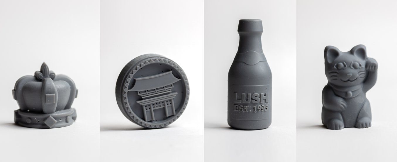 Various Lush products printed in Grey Resin.