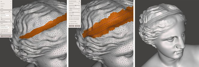 Meshmixer tutorial - Generating a thicker section with the Extrude operation.