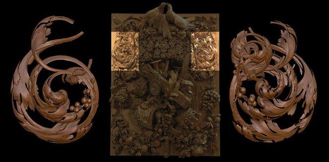 """Il Pannello di Cosimo III, un intaglio ligneo risalente al XVII secolo, ad opera di Grinling Gibbons. Mercante ha creato uno """"stampo virtuale"""" (a sinistra) basato sulla scansione di una decorazione simile all'interno del pezzo (a destra) e lo ha accuratame"""
