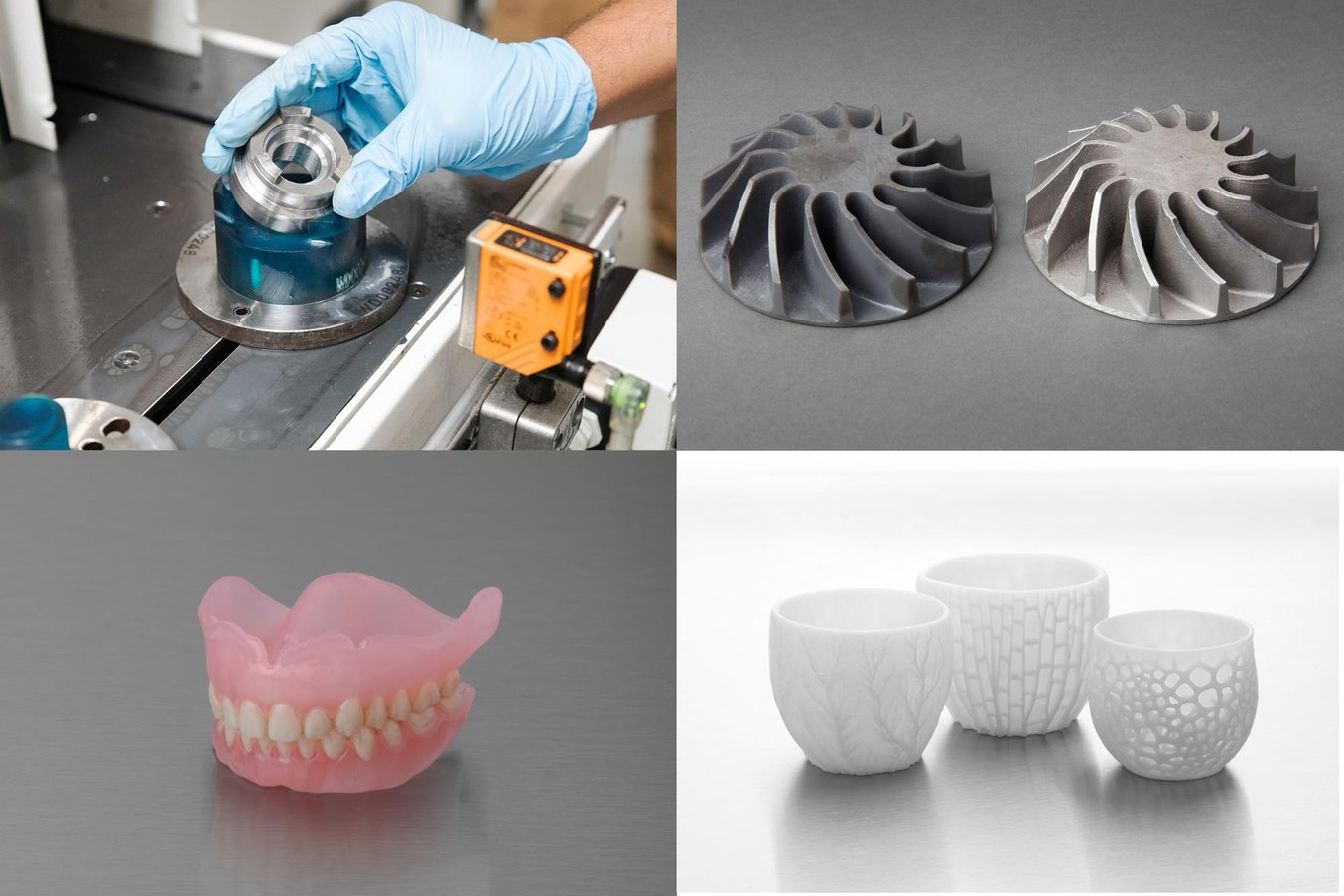 Four parts produced using the same SLA 3D printer. From top left to bottom right: a fixture in an automated production line at an automotive factory; a metal part casted using a 3D printed pattern; a biocompatible denture; and ceramic tableware.
