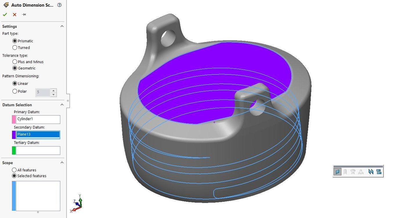 Selecting datums and features for Geometric Tolerancing in Solidworks.