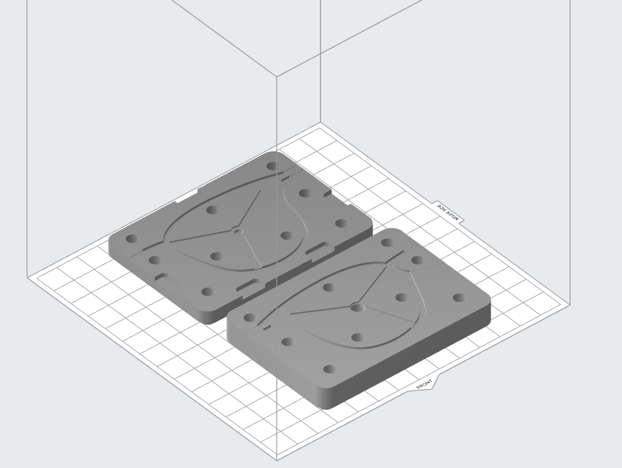 Various injection mold designs in Formlabs' PreForm print preparation software.